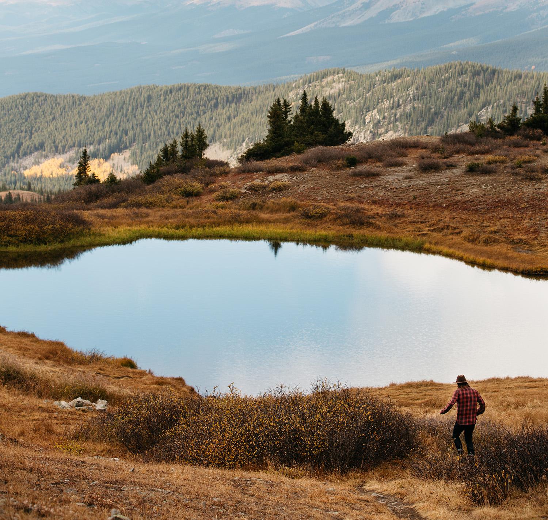 Man by a lake